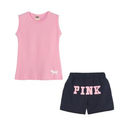 Wholesale cheap girls clothing sets - Cheap girls clothes pink letter set Baby Vest Shorts Set Baby Kids Clothing Summer clothes Child Set Casual Wear 2012