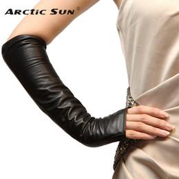 98427d82eb81 Fashion Women Black Sheepskin Fingerless Gloves Ladies Long Genuine Leather  Warm Winter Glove Elbow Solid Mittens Sale L070NN
