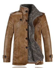 Wholesale Champagne Leather Jacket - Leather Jacket Men Winter PU Jackets and Coat Thickening Wool Windbreak Waterproof Warm Skin Lamb Fur Trench Coat Plus Size 3XL