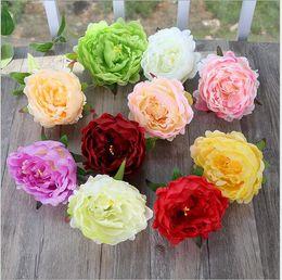 2019 roses rouges séchées Nouvelles Fleurs Artificielles En Soie Pivoine Têtes De Fleurs Partie De Mariage Décoration Fournitures Simulation Faux Fleur Tête Décorations Pour La Maison 12 cm