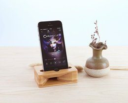 Wholesale Dock Sound - Cell Phone Stand iPhone Stand Holder Bamboo Wood Phone Dock with Sound Amplifier Natural Bamboo Stands for iPhone 7 8 X Android