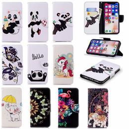 2019 elefante farfalle Custodia a portafoglio in pelle moda per Iphone XR XS MAX X 10 8 7 6 6S SE 5 Galaxy Note 9 S9 Panda Flower Unicorn Card Butterfly Elephant Flip Cover
