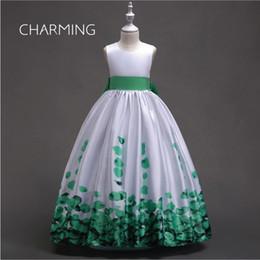 weinlese formale kleidmuster Rabatt Blumenmädchen Kleid Muster drucken Hochzeitskleid Satin Rüschen Party Kleider Vintage Brautkleid Designer Kleider lange formale Kleider