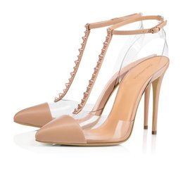 Wholesale transparent rivet high heels - European and American big size women with transparent rivet single shoes,Leather stitching and buckles pure color Sexy lady's sandals.T615