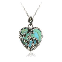 Wholesale Marcasite Pendant Necklace - Hot Selling 2018 New Fashion 925 Sterling Silver Marcasite & Turquoise Heart Necklace Wholesale Jewelry Pandent For Women Men Christmas Gift