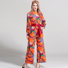 Wholesale lady blouses piece - Lady Milan 2018 Women's O Neck Long Sleeves Floral Printed Blouse with Long Pants Sash Bow Belt Fashion Casual Two Piece Pants Sets