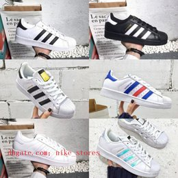 sell sneakers Promo Codes - Sell 2018 Superstars men shoes Black White Gold  Hologram Junior Originals 4dac3b081661