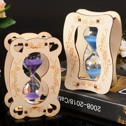 Wholesale glass inlays - Wooden Hourglass Sand Glass Sand Clock Crafts Home Decoration Wood Hourglass Timer Christmas Birthday Gift NNA315
