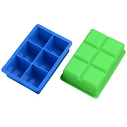 Wholesale square baking moulds - Silicone Ice Cube Tray Square 6 Lattice Mould Food Grade Mold Large Block Jelly Pudding Baking DIY Chocolate Cake 5 3js V