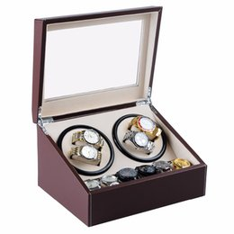 Wholesale Watch Case Automatic Winder - New 4+6 wooden watch winder with high gloss piano paint,automatic watch winder box case storage jewelry box Cases&Displays