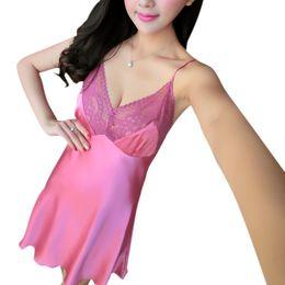26f48911a7 short silk satin nightgowns UK - Women Sexy Short Sleeve Silk Satin Lady Pajamas  Sleepwear Robes