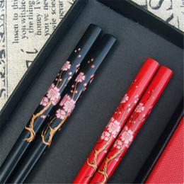 2019 chopsticks chineses do presente Chopsticks madeira artesanal estilo chinês Chestnut Set valor presente anti-derrapante quente chopsticks chineses do presente barato