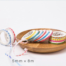 Wholesale Lace Stationery Tape - Wholesale- 2016 48 pcs Lot Decorative edge of lace washi tape 5mm decorating masking tapes for scrapbooking DIY Stationery school supplies