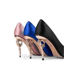 2018 Ральф Руссо синий удобный дизайнер свадебные свадебные туфли шелковые eden каблуки обувь для свадьбы вечерние выпускного вечера обувь cheap blue silk heels от Поставщики синие шелковые каблуки