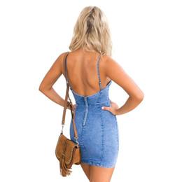 Wholesale Girl S Denim Dresses - European American Fashion Women Denim Short Dress Summer Sexy Sleeveless Backless Teenage Girls Slim Zipper Dress Jeans Bodycon