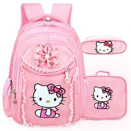 mochila de oso pardo Rebajas FZMBAI Hello Kitty School Backpacfor Niñas Niños Satchel Niños Mochilas Escolares Para Kindergarten Escolar Mochilas