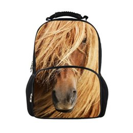 Wholesale Backpack Unique - Unique 3D Animals Crazy Horse Printing Children School Backpacks College Students Bagpack Large Capacity Men's Travel Backpack