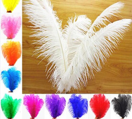 Wholesale Large Ostrich Feathers Wholesale - 20 Pcs 30 -35cm Naturelles Cheap Ostrich Feathers Bulk Large White Ostrich Feathers Colored For Sale Crafts Wedding Decoration