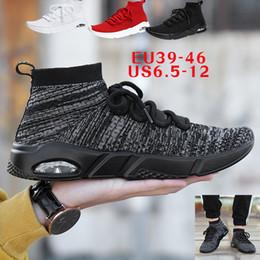 buy online d2ff2 e4859 Alta qualità economici originali 2018 uomini calzino scarpe nero bianco  rosso velocità allenatore sportivo sneakers stivali alti scarpe casual  taglia Eur ...