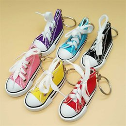 Wholesale Sneaker Mini - Fashion Cute Sport Style Key Ring Mini 3D Sneaker Canvas Shoes Keychain Tennis Chucks Keys Buckle Unisex Charms 2 38yy Z