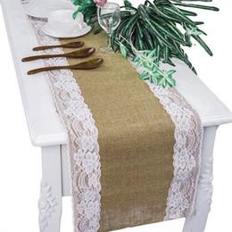 mesa de comedor paño estilo chino Rebajas Arpillera Mesa de Encaje Runner Paño de la Tabla Rústico Natural Yute Boda Nupcial Ducha de Bebé Ducha de Bebé Mesa de Comedor Decoración