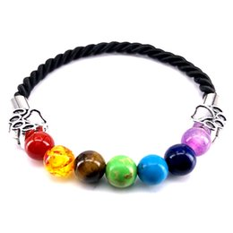 Wholesale Hand Made Bracelets For Men - 2018 New Hand Made Rope Bracelet 7 Chakra Men Women Bracelet Dog Paw Charm Bangle for Pet Lovers Jewelry Gift B18091