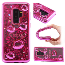kiss lip Promo Codes - For Iphone XS MAX XR X 8 7 6 5 SE Galaxy S9 S8 Kiss Me Luxury Lip Metallic Quicksand Soft TPU Case Heart Chromed Bling Liquid Plating Covers
