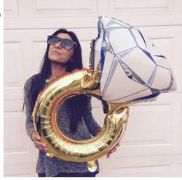 Decorazioni di eventi diamanti online-43 pollici Big Balloon Diamond Ring Foil Balloons Gonfiabile Decorazione di cerimonia nuziale Elio Air Balloon Event Party Supplies