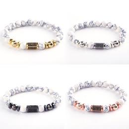 uomini shamballa perline bracciali Sconti 2018 New fashion di alta qualità 8mm lava pietra naturale braccialetto di perline zircone bianco sfera perline uomini bracciali shamballa monili delle donne