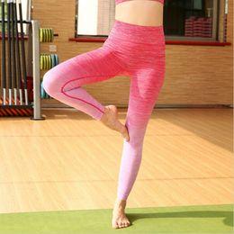 Argentina High Gym Sport Leggings Gradient Elastic Women lulu Yoga Pantalones Medias de compresión Fitness Women Night Running Sportwear pantalones Suministro