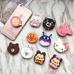 hello rings Promo Codes - 2018 hot New mobile phone bracket Cute hello kitty Phone Stand Finger Holder For iPhone Sakura luna cat phone ring