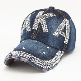 5d19d240d58 Fashion Rhinestone AKA Diamante Denim Baseball Cap Women s Autumn Sports Hat  Canvas Snapback Caps Good Quality casquette Causal