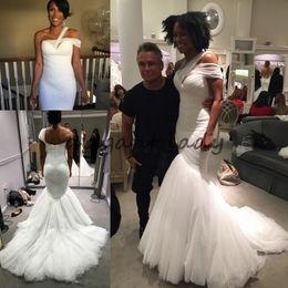 Wholesale Pearl Dreams - Greek Dream One-shoulder Straps Mermaid Beach Wedding Dresses 2018 Modest Tulle Elegant Full length beach Bohemain Bridal Wedding Gowns