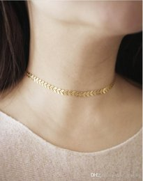 metal choker sexy Promo Codes - Fashion sexy fish bone choker gold or silver color plated with Metal Chain For Women wife Necklace Gift