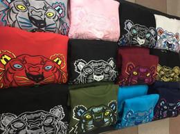 Sans broderie en Ligne-Livraison gratuite broderie tête de tigre chandail homme femme de haute qualité à manches longues O-cou pull Hoodies Sweat-shirts veste