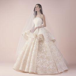 Wholesale Lace Peplum Floor Length Dress - Gorgeous Lace Ball Gown Wedding Dresses Fashion Strapless Sleeveless Peplum Full Lace Wedding Dress Custom Made Floor Length Wedding Gown