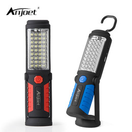 Wholesale 36 led flashlight - Anjoet Portable Light 36 +5 Led Flashlight Usb Charging Work Light Magnetic +Hook +Mobile Power For Can Help Phone Charge