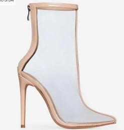 2019 zapatos de vestir amarillos 2018 nuevas mujeres botas de pvc punta del pie botines zip up botas amarillas patente botas señoras zapatos de vestir del talón delgado 10 cm pvc bota de tacón alto zapatos de vestir amarillos baratos
