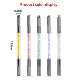 Wholesale Tattoo Lips Eyebrow - Wholesale Permanent Makeup Machines Tattoo Crystal Handmade Pen Eyebrow Pen Fog Brush Lips Double-headed Pen Free Shipping