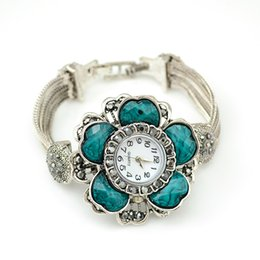 Horloges à la mode en Ligne-Idealway Vente Chaude De Mode Casual Antique Argent Large Layered Chain Big Vogue Fleur Bracelet À Quartz Montres Horloge