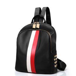 Nuevos éxitos online-Nueva llegada diseñador mochila mujer marca de alta calidad de moda bolsos de hombro Hit color rayas bolsos con cremallera mochilas bolsos de las señoras