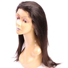"Wholesale light brown wig closures - 360 8-20"" Straight Full Lace Wig Closures #1B 100% Straight Virgin Human Hair Full Lace Wig Human Hair"