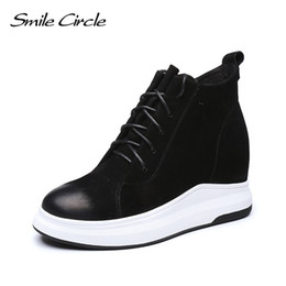 Wholesale High Heel Platform Sneakers - Smile Circle Cow Leather Wedges Sneakers Autumn Ankle Boots Women Lace-up Platform Shoes Height increase 7cm high heels shoes