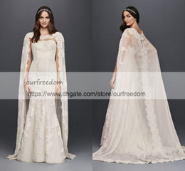 Wholesale Dresses Civil Wedding - Oleg Cassini Scalloped Chiffon Lace Cape Wedding Dress 2018 Modest Dubai Arabic Abaya Mermaid Civil Castle Bridal Wedding Gown
