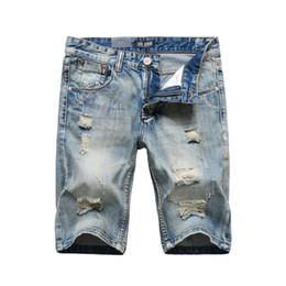 Wholesale Denim Shorts 38 - Italian Style Fashion Men's Jeans Shorts High Quality Summer Denim Shorts Men Knee Length Cotton Short Ripped Jeans Size 29-38