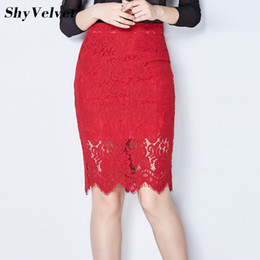 faldas rojas del lápiz Rebajas Elegante falda de encaje de ganchillo otoño  cintura alta desgaste para a48c6a4aae70