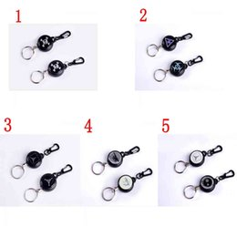 Wholesale metal retractable id badge holder - High Strength Steel Wire Pull Keyring Tag Card Holder Recoil Belt Metal Badge Retractable Reel ID Badge Holders
