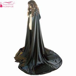 Wholesale Custom Made Hats - Black Cape For Wedding Silk Satin Elegant Long Jacket Cosplay Wrap with Hats bolero mariage Women Cloak ZJ006