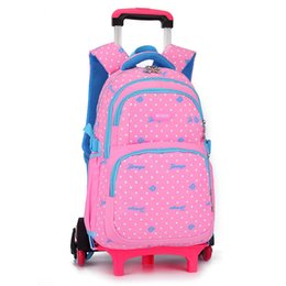 912eb8186e01 Fashion dots School Bags 6 Wheels Trolley School bag Can climb stairs  Children Backpack for girls boys large capacity Travel bag