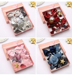 Wholesale Tie Gift Box Packaging - Box Package Girls' Big Bow Hair Clips Grips Kids Hair Ties Elastic Accessories Whole Sets Gifts
